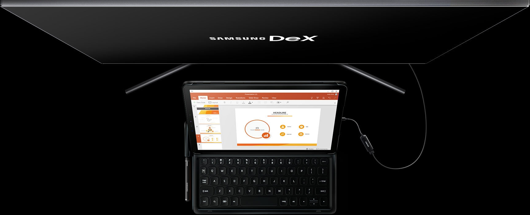 Galaxy Tab S4 with keyboard connected to a large monitor displaying Samsung Dex. A DeX Cable connects the two devices.