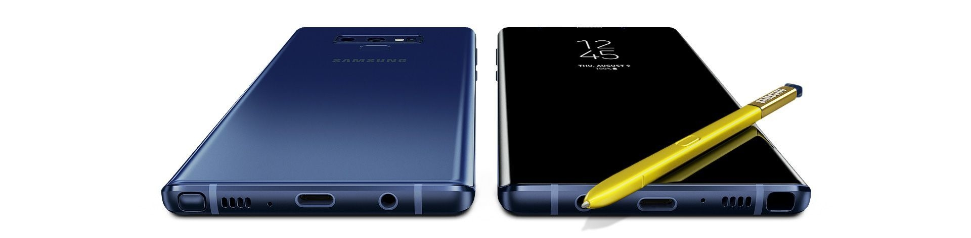 Two Galaxy Note9s, one seen from the rear and the other seen from the front, with the S Pen laying on the screen