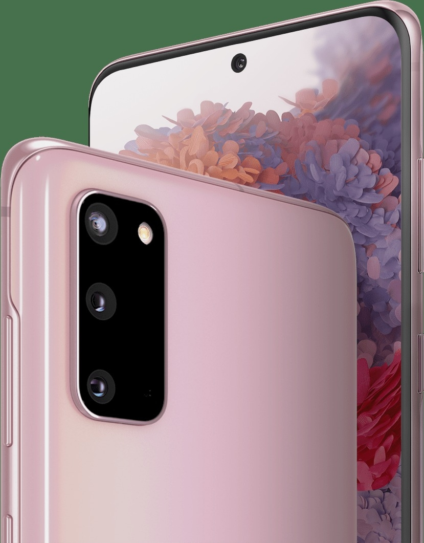 Two Galaxy S20 phones in Cloud Pink, one seen from the rear and one seen from the front with the flower graphic wallpaper onscreen, showing the location of the cameras. On the front is the 10MP Front Camera, and on the rear is the 12MP Ultra Wide Camera, 12MP Wide-Angle Camera, and 64MP Telephoto Camera.