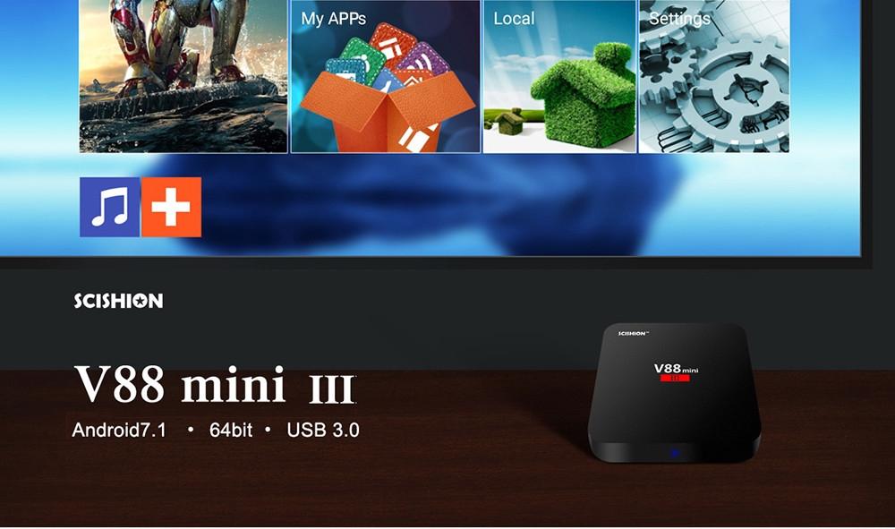 SCISHION V88 Mini III TV Box 2.4GHz WiFi Android 7.1 Support 4K 2 RAM + 8 ROM