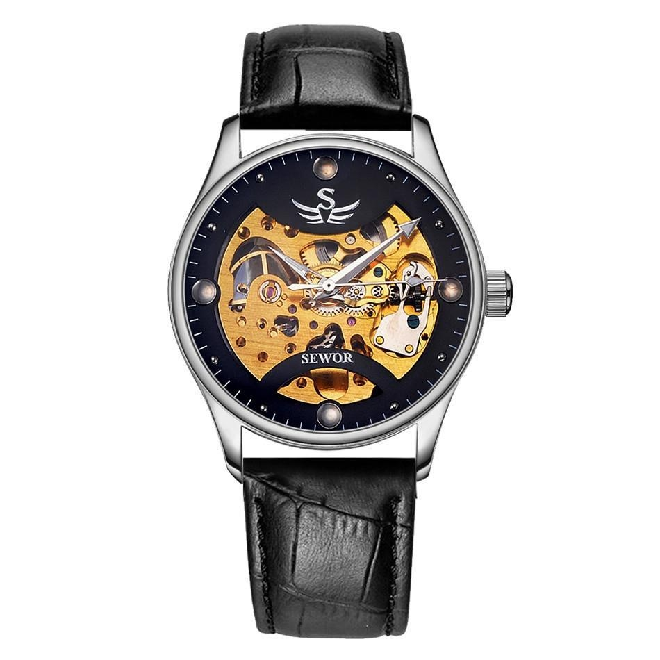 YJJZB SEWOR Brand Fashion Casual Automatic Mens Mechanical Watch Skeleton  Luxury Men Wristwatch PU Leather Strap Dress Watch Popular (BlackGold)