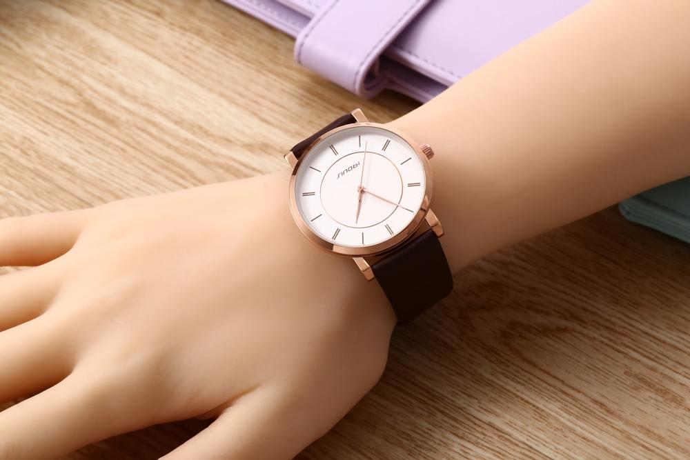 SINOBI 9600G Male Quartz Watch Water Resistance Ultrathin Stainless Steel Net Band Wristwatch