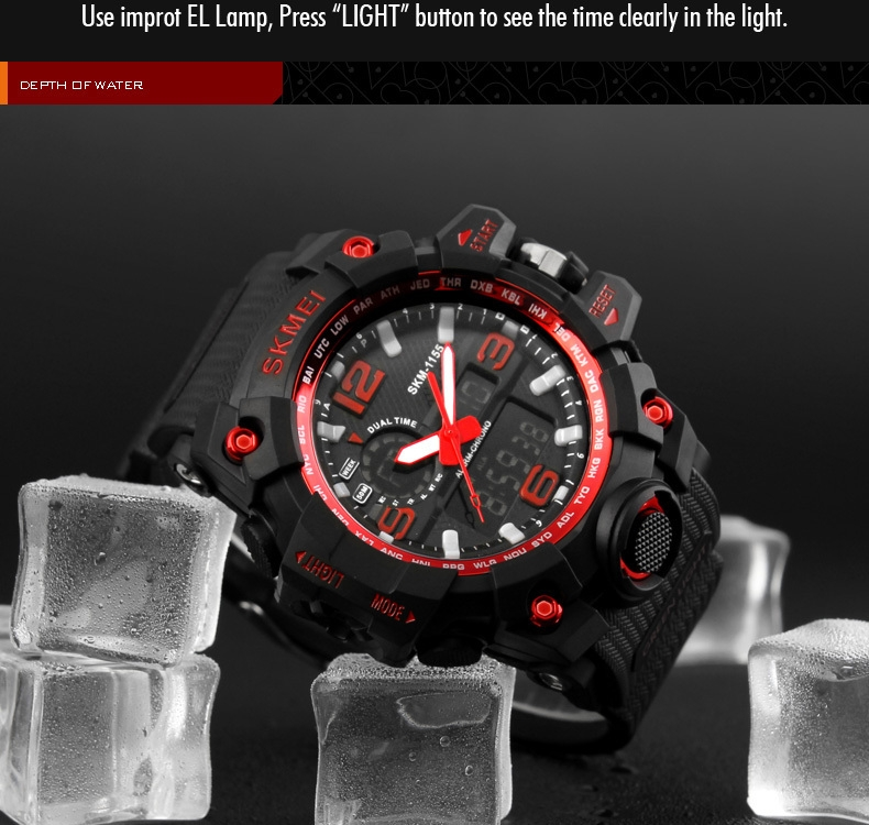 SKMEI Sports Watches LED Military Waterproof Wristwatch Sport Men's Quartz Analog Digital Watch gold 28cm 8
