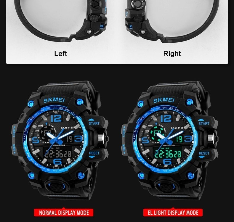 SKMEI Sports Watches LED Military Waterproof Wristwatch Sport Men's Quartz Analog Digital Watch gold 28cm 7