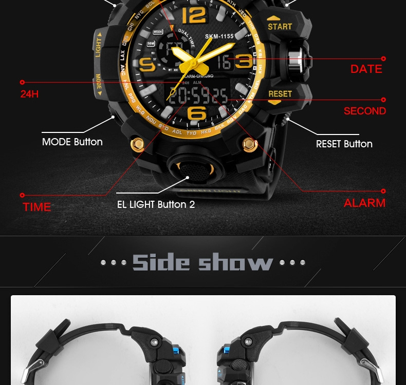 SKMEI Sports Watches LED Military Waterproof Wristwatch Sport Men's Quartz Analog Digital Watch gold 28cm 6