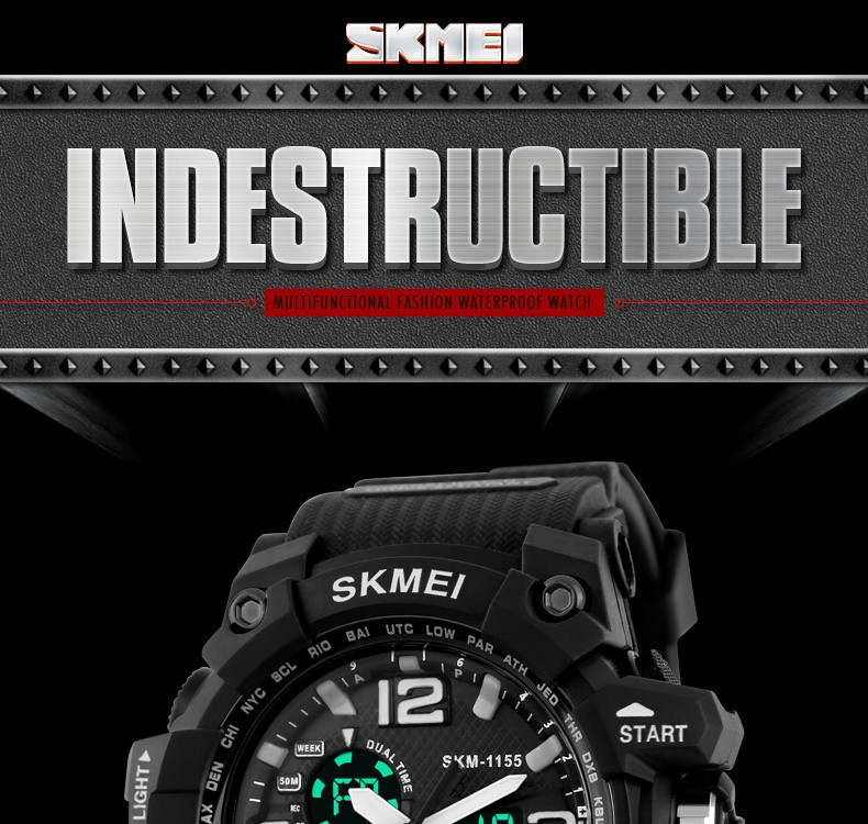 SKMEI Sports Watches LED Military Waterproof Wristwatch Sport Men's Quartz Analog Digital Watch gold 28cm 1