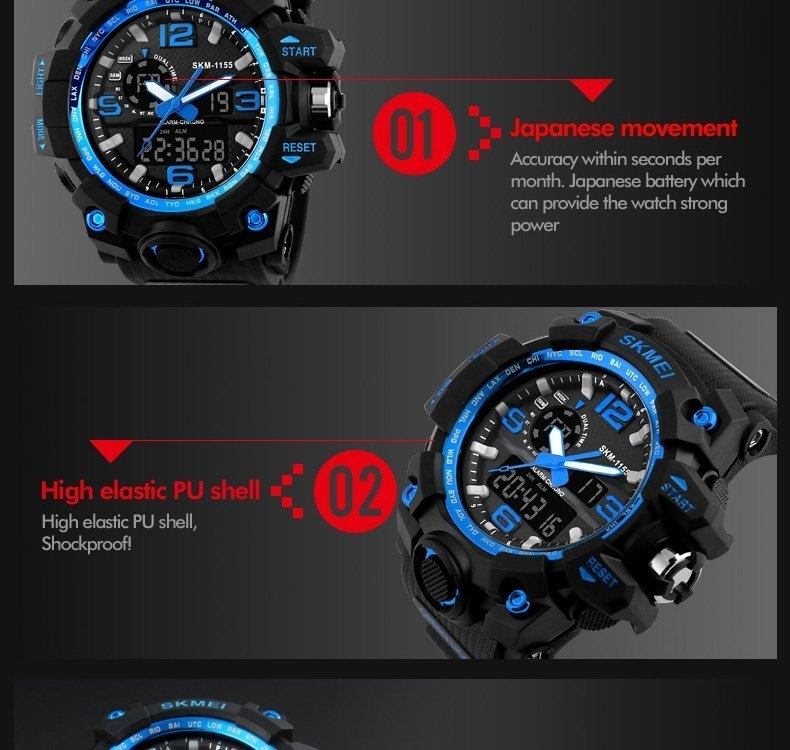SKMEI Sports Watches LED Military Waterproof Wristwatch Sport Men's Quartz Analog Digital Watch gold 28cm 11