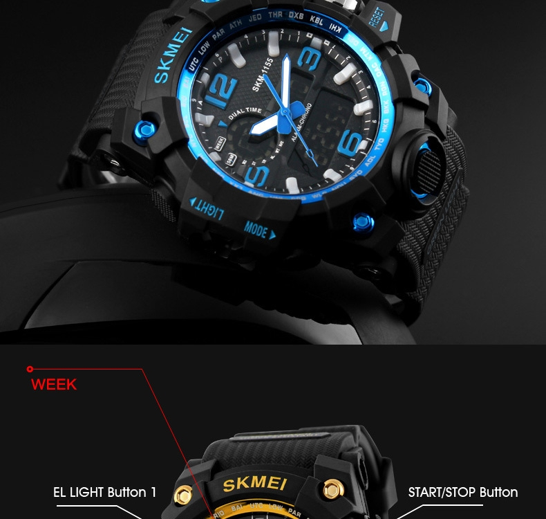 SKMEI Sports Watches LED Military Waterproof Wristwatch Sport Men's Quartz Analog Digital Watch gold 28cm 5