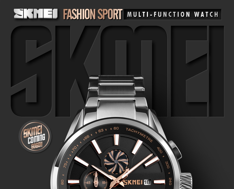 SKMEI Men's Luxury Brand Chronograph Mens Sports Watches Waterproof Stainless Steel Quartz Watch Rose Gold 25cm 1