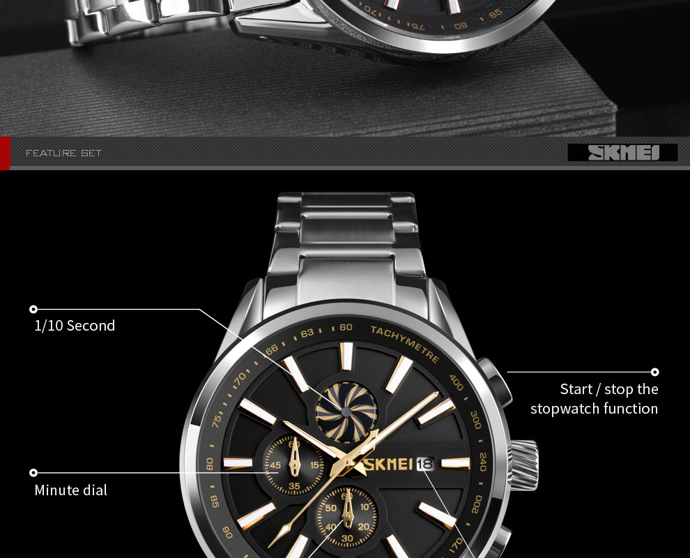 SKMEI Men's Luxury Brand Chronograph Mens Sports Watches Waterproof Stainless Steel Quartz Watch Rose Gold 25cm 8