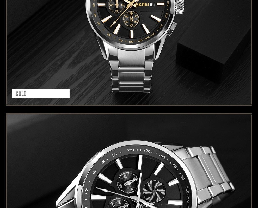 SKMEI Men's Luxury Brand Chronograph Mens Sports Watches Waterproof Stainless Steel Quartz Watch Rose Gold 25cm 15
