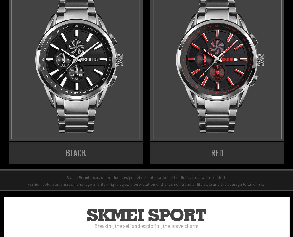 SKMEI Men's Luxury Brand Chronograph Mens Sports Watches Waterproof Stainless Steel Quartz Watch Rose Gold 25cm 5