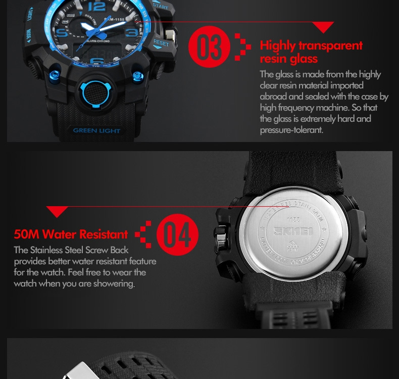 SKMEI Sports Watches LED Military Waterproof Wristwatch Sport Men's Quartz Analog Digital Watch gold 28cm 12
