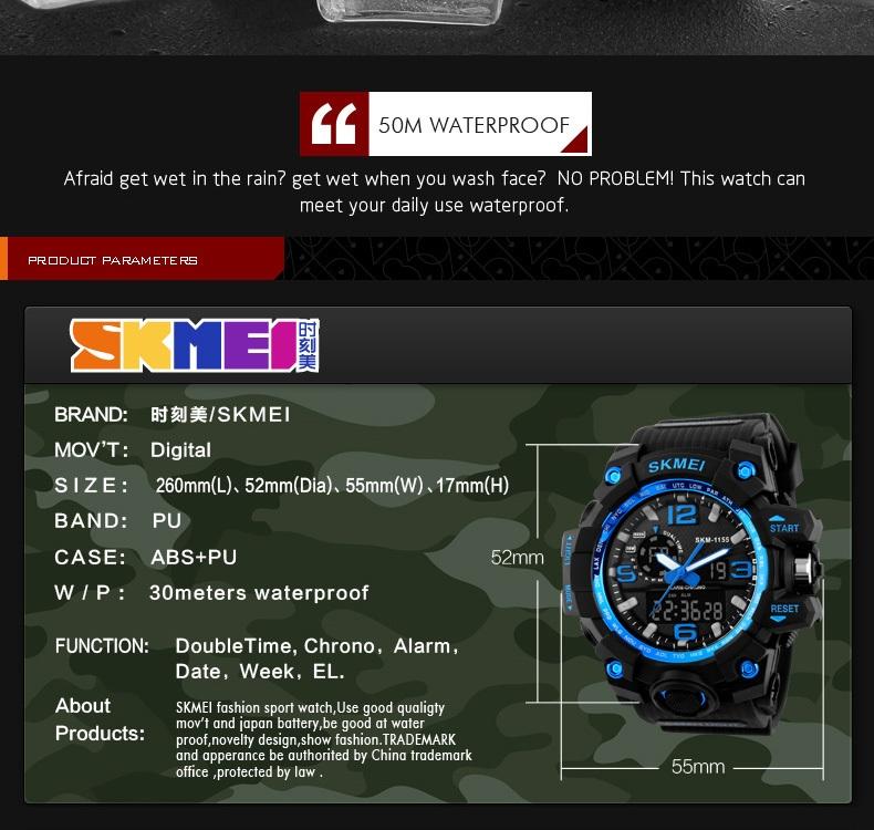 SKMEI Sports Watches LED Military Waterproof Wristwatch Sport Men's Quartz Analog Digital Watch gold 28cm 9