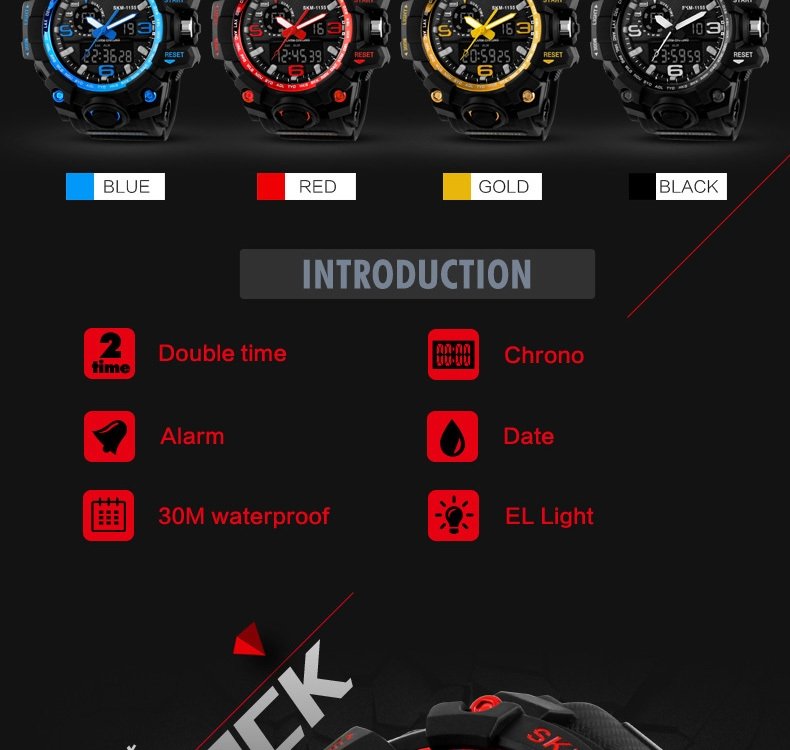 SKMEI Sports Watches LED Military Waterproof Wristwatch Sport Men's Quartz Analog Digital Watch gold 28cm 3