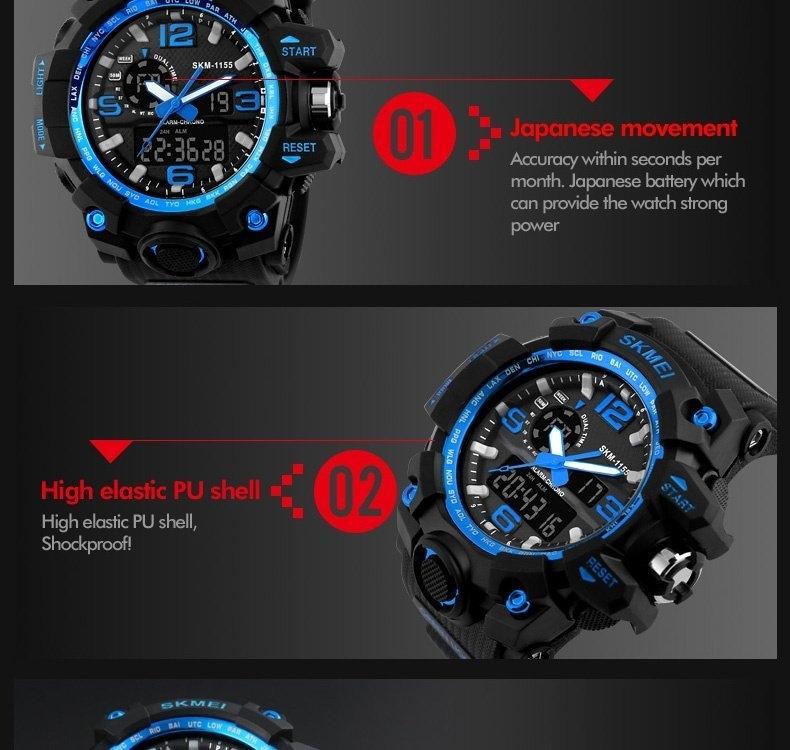 SKMEI Sports Watches LED Military Waterproof Wristwatch Sport Men's Quartz Analog Digital Watch gold 28cm 11