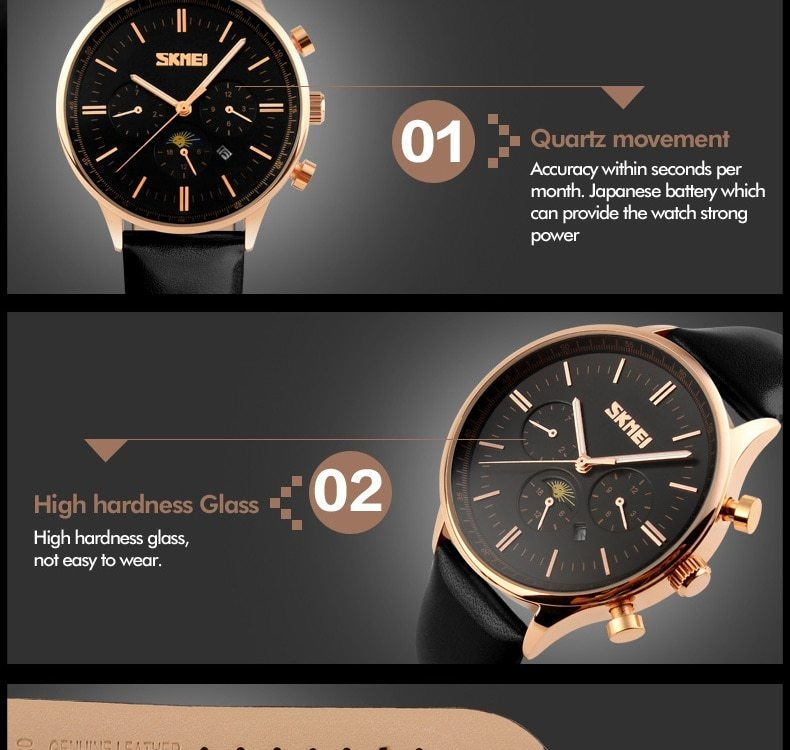 SKMEI Fashion Luxury Watches Men Business Quartz Wristwatches Waterproof Leather Casual Watch Black+Gold 25cm 13
