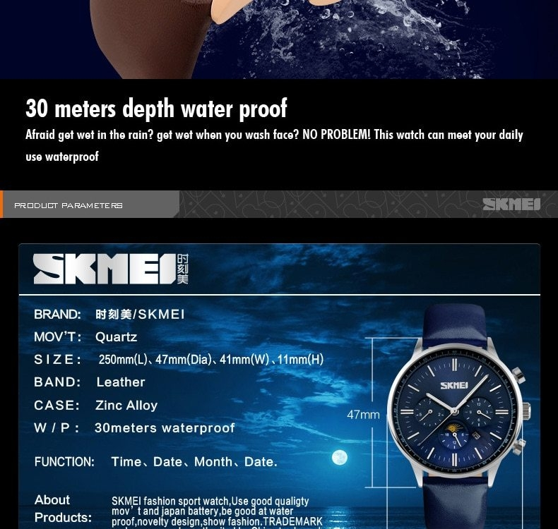 SKMEI Fashion Luxury Watches Men Business Quartz Wristwatches Waterproof Leather Casual Watch Black+Gold 25cm 11