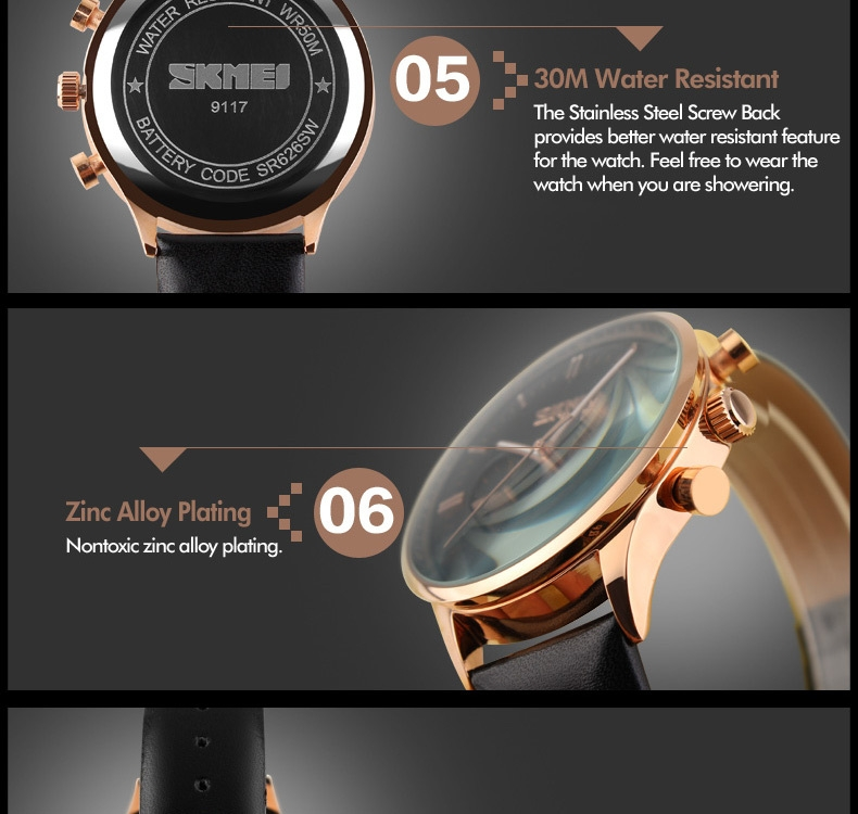 SKMEI Fashion Luxury Watches Men Business Quartz Wristwatches Waterproof Leather Casual Watch Black+Gold 25cm 15