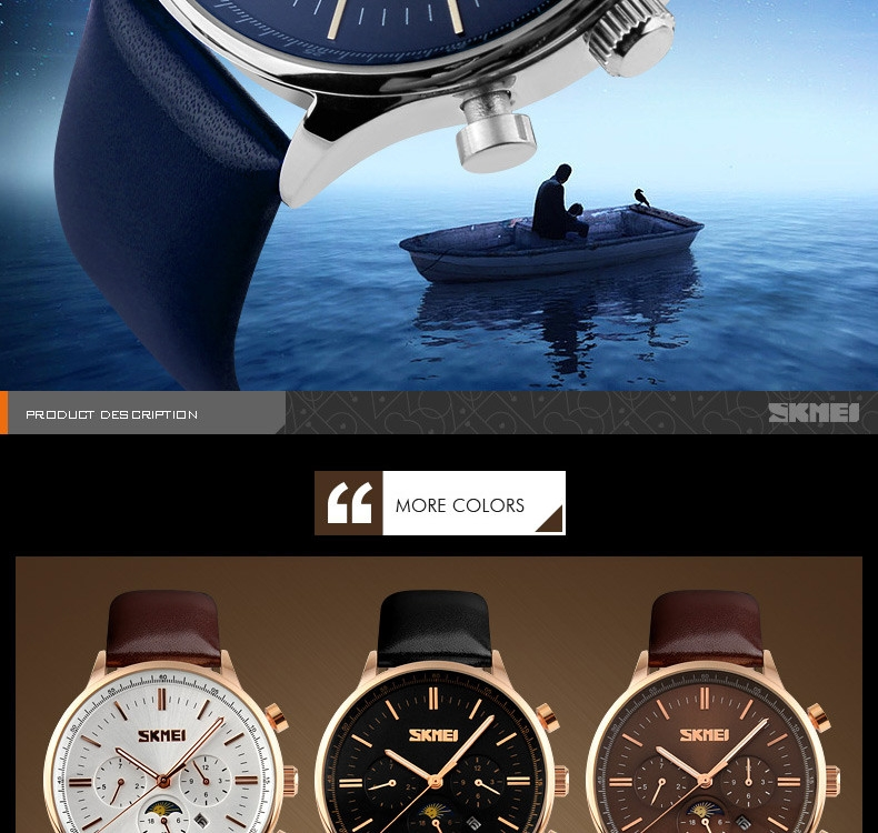 SKMEI Fashion Luxury Watches Men Business Quartz Wristwatches Waterproof Leather Casual Watch Black+Gold 25cm 2