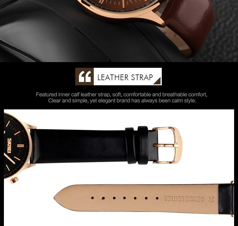 SKMEI Fashion Luxury Watches Men Business Quartz Wristwatches Waterproof Leather Casual Watch Black+Gold 25cm 8