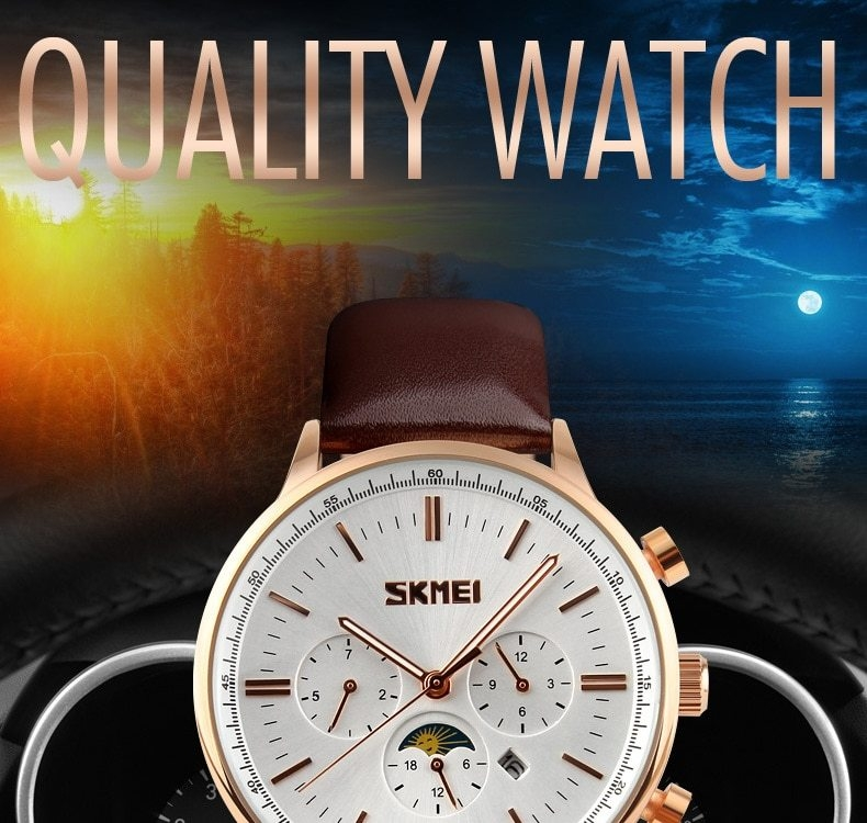 SKMEI Fashion Luxury Watches Men Business Quartz Wristwatches Waterproof Leather Casual Watch Black+Gold 25cm 4