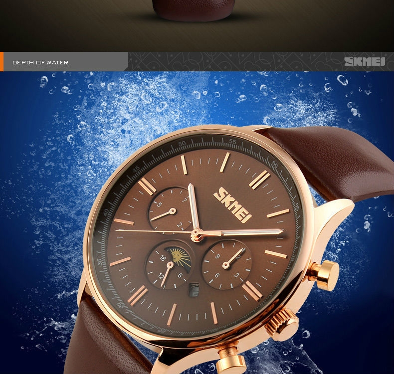 SKMEI Fashion Luxury Watches Men Business Quartz Wristwatches Waterproof Leather Casual Watch Black+Gold 25cm 10