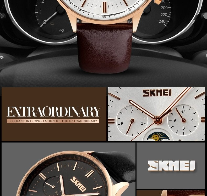 SKMEI Fashion Luxury Watches Men Business Quartz Wristwatches Waterproof Leather Casual Watch Black+Gold 25cm 5