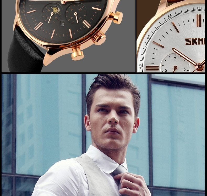 SKMEI Fashion Luxury Watches Men Business Quartz Wristwatches Waterproof Leather Casual Watch Black+Gold 25cm 6