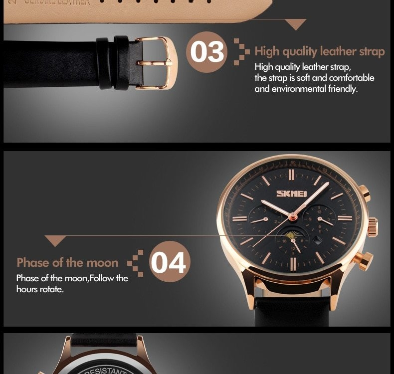 SKMEI Fashion Luxury Watches Men Business Quartz Wristwatches Waterproof Leather Casual Watch Black+Gold 25cm 14