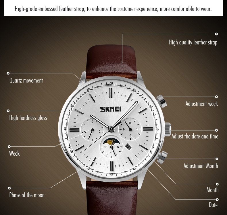 SKMEI Fashion Luxury Watches Men Business Quartz Wristwatches Waterproof Leather Casual Watch Black+Gold 25cm 9