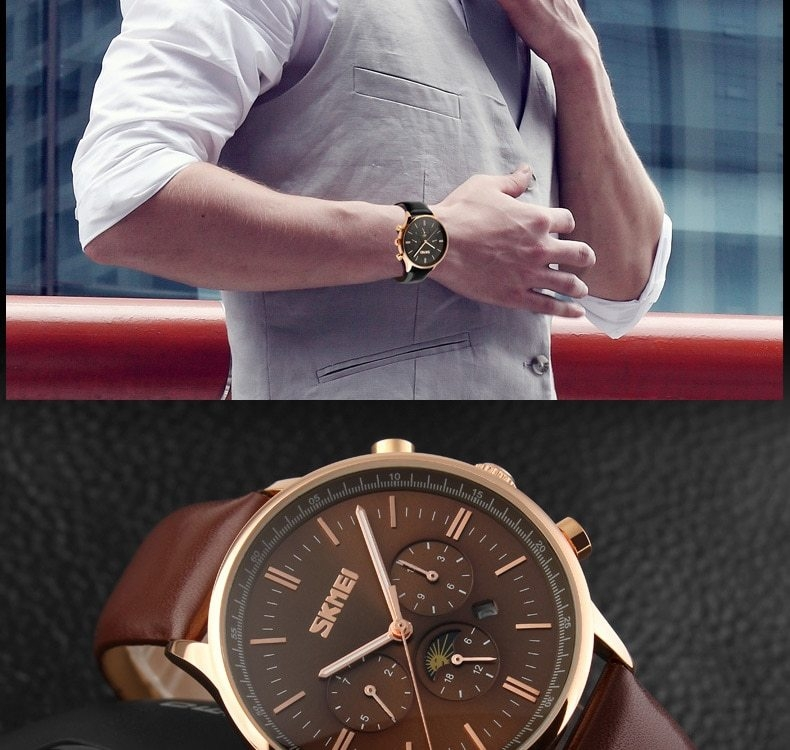 SKMEI Fashion Luxury Watches Men Business Quartz Wristwatches Waterproof Leather Casual Watch Black+Gold 25cm 7