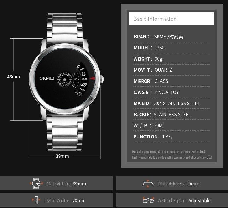 Skmei Men's Quartz Watch Sport Watches Luxury Fashion Business Wristwatches Waterproof Male Clock silver 28cm 5
