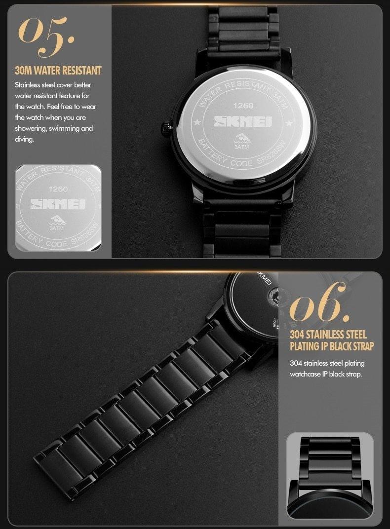 Skmei Men's Quartz Watch Sport Watches Luxury Fashion Business Wristwatches Waterproof Male Clock silver 28cm 11