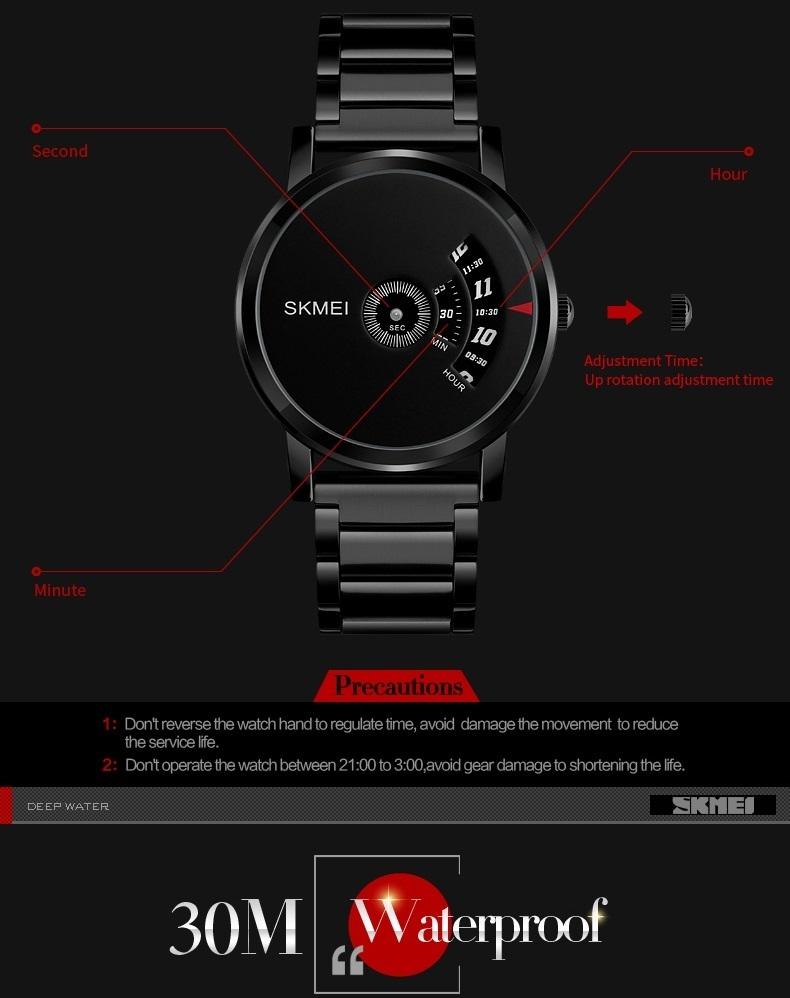 Skmei Men's Quartz Watch Sport Watches Luxury Fashion Business Wristwatches Waterproof Male Clock silver 28cm 6