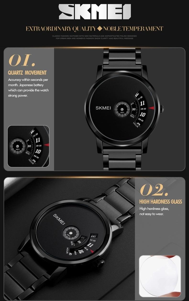 Skmei Men's Quartz Watch Sport Watches Luxury Fashion Business Wristwatches Waterproof Male Clock silver 28cm 9