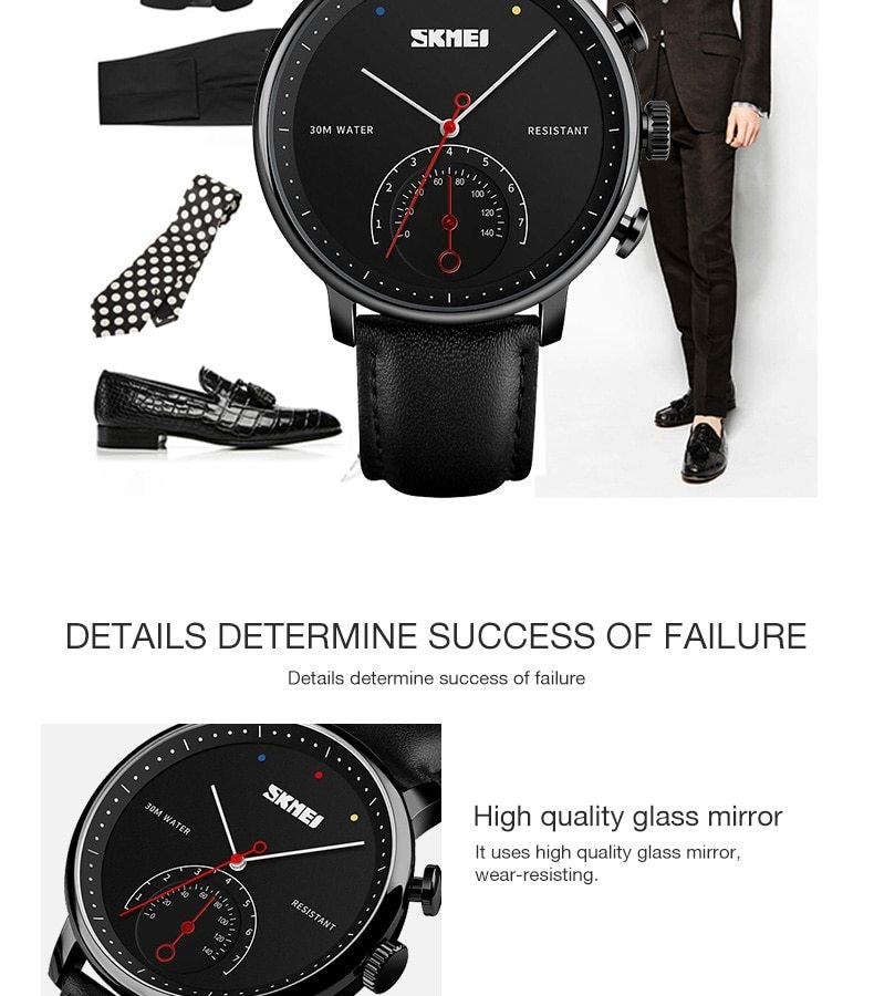 SKMEI Business Quartz Men Watch Leather Strap Watches Alloy Case Waterproof Wristwatch Fashion Watch gold 25cm 10
