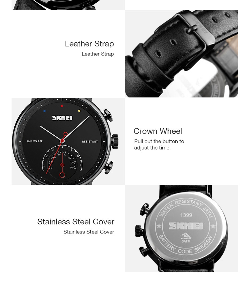 SKMEI Business Quartz Men Watch Leather Strap Watches Alloy Case Waterproof Wristwatch Fashion Watch gold 25cm 11