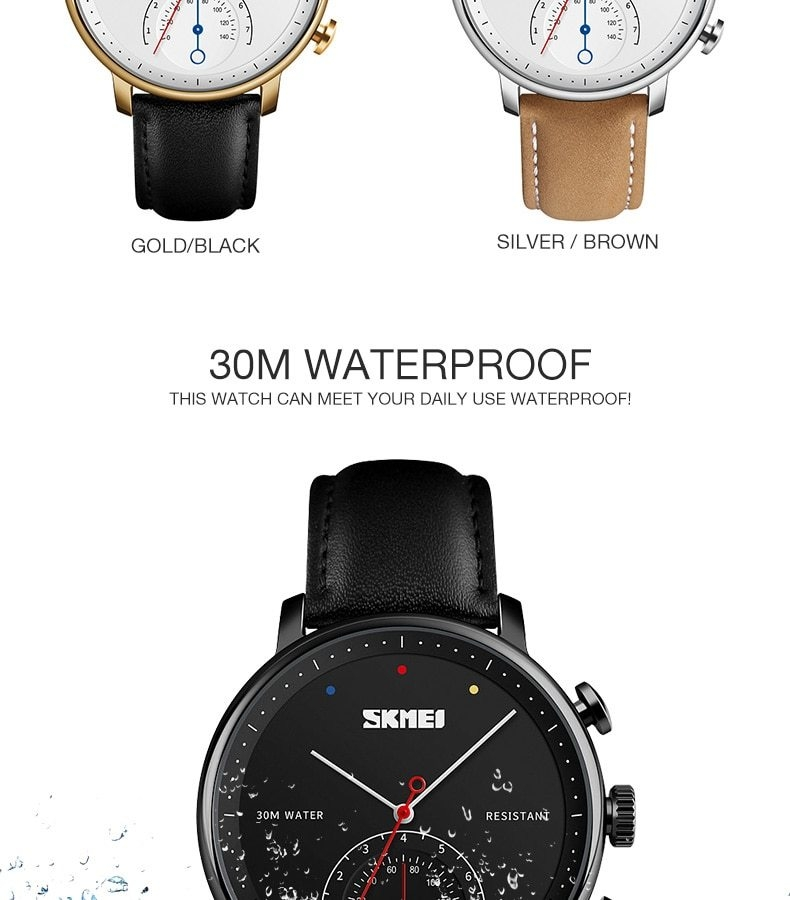 SKMEI Business Quartz Men Watch Leather Strap Watches Alloy Case Waterproof Wristwatch Fashion Watch gold 25cm 7