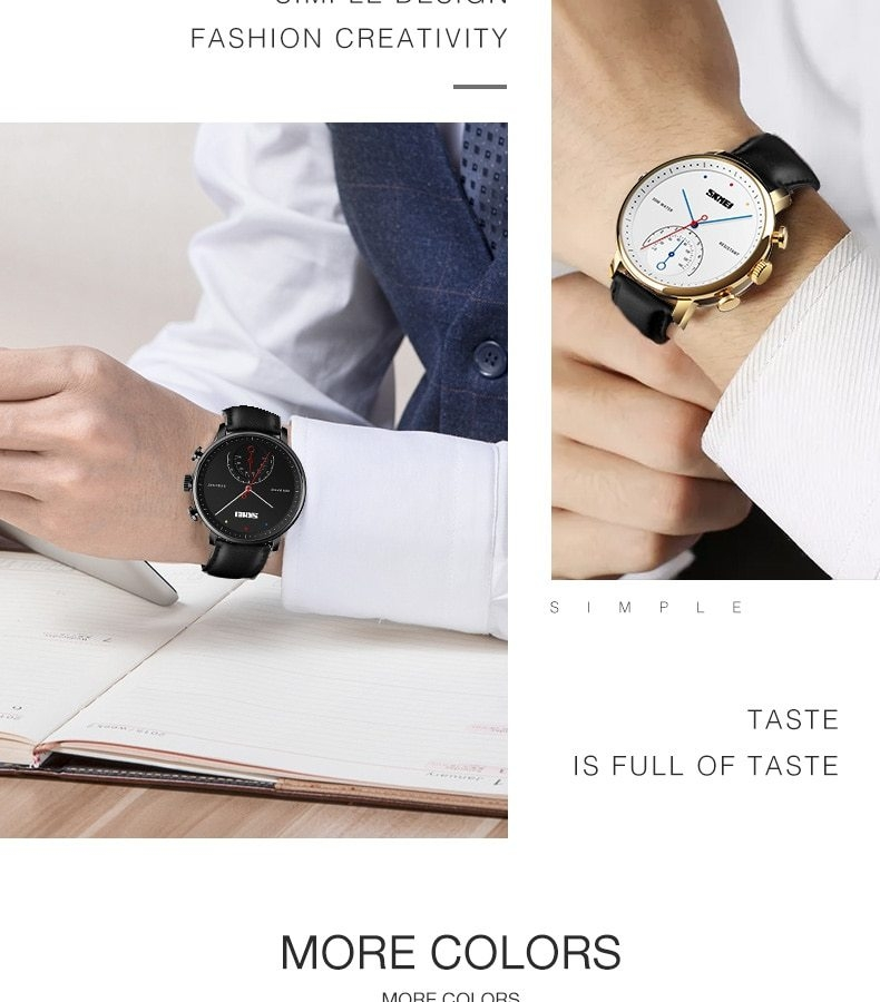 SKMEI Business Quartz Men Watch Leather Strap Watches Alloy Case Waterproof Wristwatch Fashion Watch gold 25cm 5