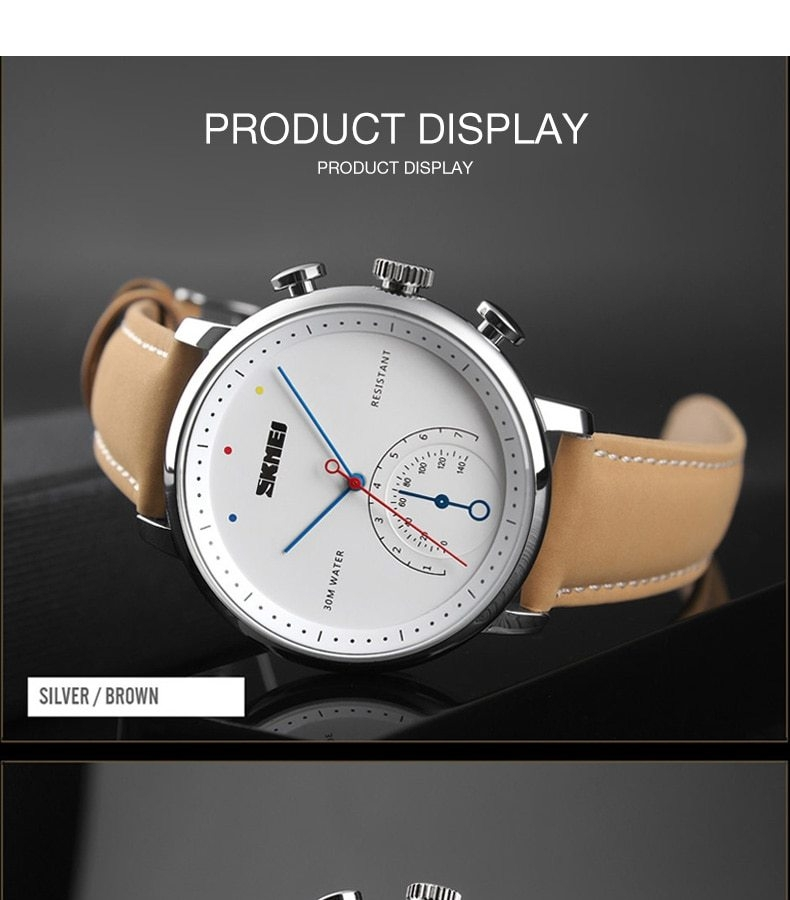 SKMEI Business Quartz Men Watch Leather Strap Watches Alloy Case Waterproof Wristwatch Fashion Watch gold 25cm 12