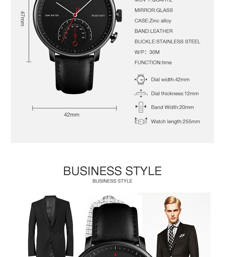 SKMEI Business Quartz Men Watch Leather Strap Watches Alloy Case Waterproof Wristwatch Fashion Watch gold 25cm 9