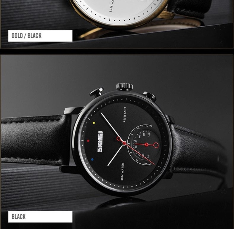 SKMEI Business Quartz Men Watch Leather Strap Watches Alloy Case Waterproof Wristwatch Fashion Watch gold 25cm 14