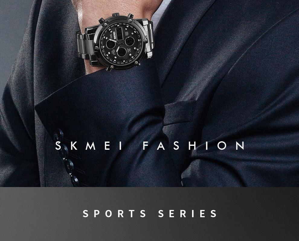SKMEI Digital Quartz Watch Men Outdoor Sports Watch Countdown Full Steel Strap Wristwatch Clock silver 25cm 8