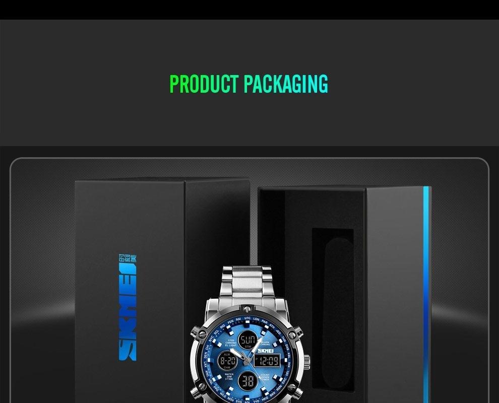 SKMEI Digital Quartz Watch Men Outdoor Sports Watch Countdown Full Steel Strap Wristwatch Clock silver 25cm 19