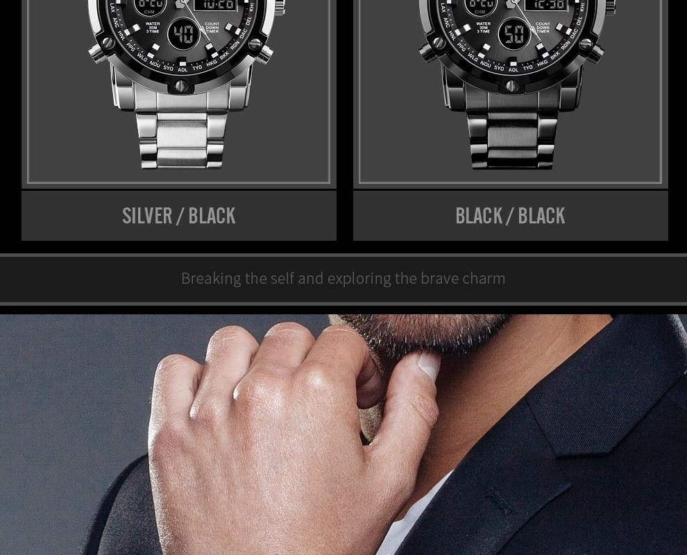 SKMEI Digital Quartz Watch Men Outdoor Sports Watch Countdown Full Steel Strap Wristwatch Clock silver 25cm 7