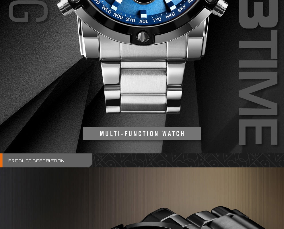 SKMEI Digital Quartz Watch Men Outdoor Sports Watch Countdown Full Steel Strap Wristwatch Clock silver 25cm 3