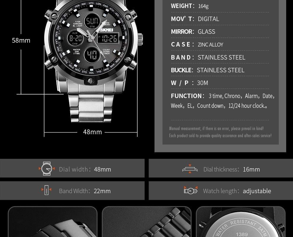 SKMEI Digital Quartz Watch Men Outdoor Sports Watch Countdown Full Steel Strap Wristwatch Clock silver 25cm 14