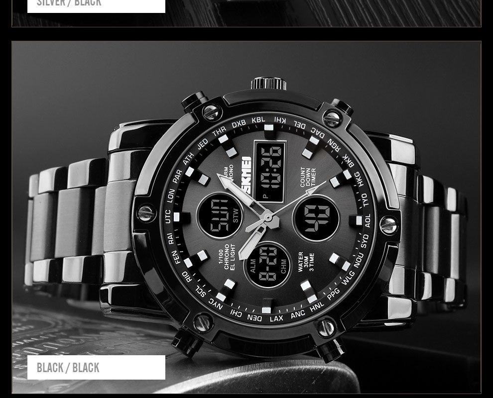 SKMEI Digital Quartz Watch Men Outdoor Sports Watch Countdown Full Steel Strap Wristwatch Clock silver 25cm 18