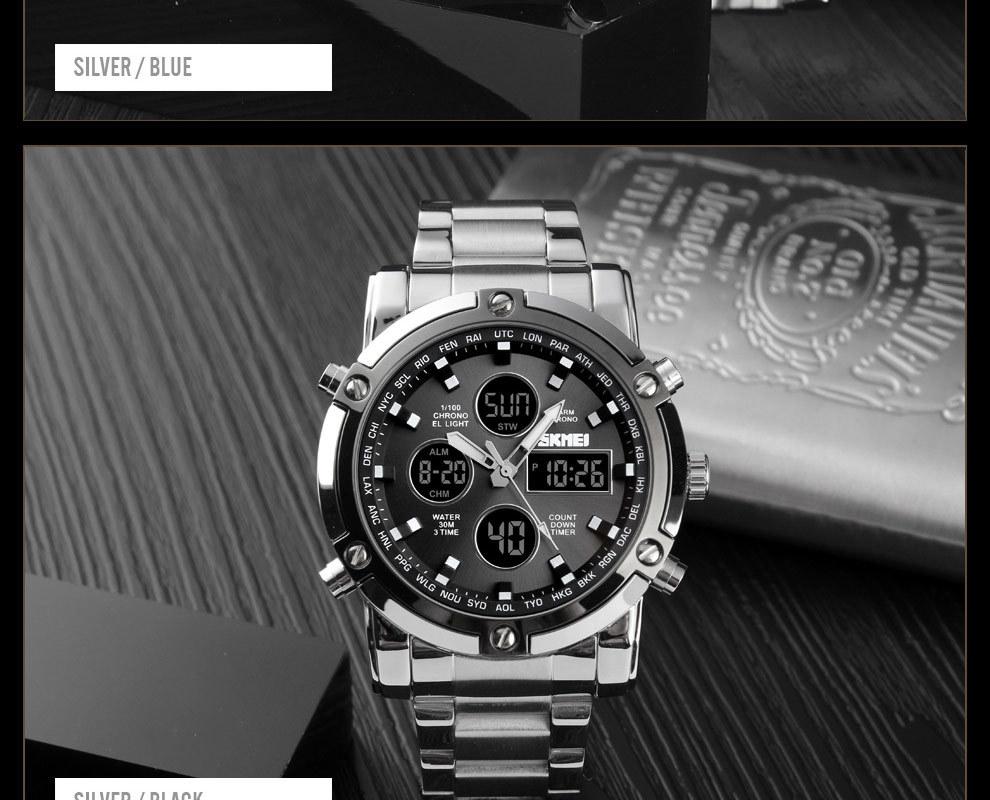 SKMEI Digital Quartz Watch Men Outdoor Sports Watch Countdown Full Steel Strap Wristwatch Clock silver 25cm 17